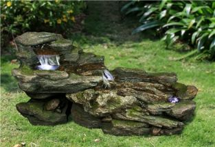 Rocky Falls Water Feature with LED Lights