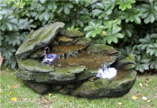 Rock Cascade Water Feature with LED Lights