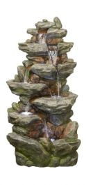 H86cm Lugano Rock Falls 6 Tier Cascasing Water Feature with Lights