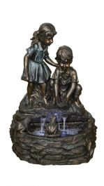 H66cm Curious Kids with Basin Water Feature with Lights