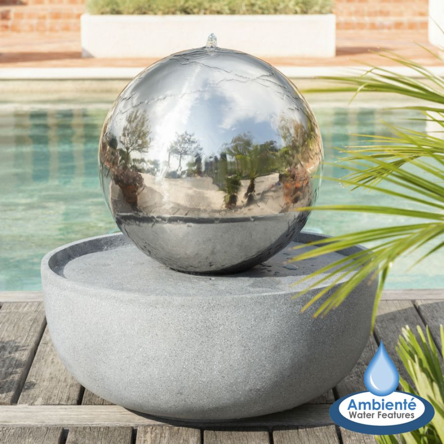 50cm Giant Eclipse Stainless Steel Sphere Water Feature with LED lights by Ambienté™