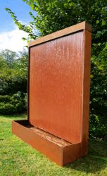 "5ft 7"" / 1.75m Corten Steel Vertical Water Wall with colour changing LED lights by Ambienté™"