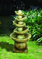 Offset Balance Bowls Stone Effect Water Feature with Lights