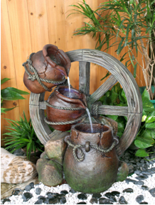 3 Urn Cartwheel Water Feature with Lights