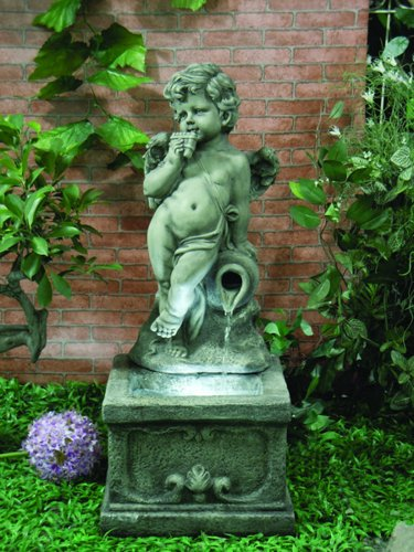 Cherub on Pedestal Water Feature with Lights