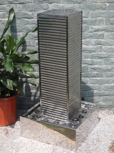 Warsaw Stainless Steel Effect Water Feature with Lights