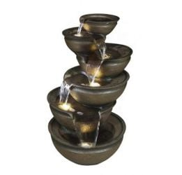 Balancing Bowl Cascading Water Feature with Lights - H98cm