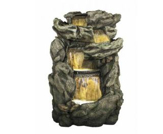 Rock Face Cascading Water Feature with Lights - H198cm