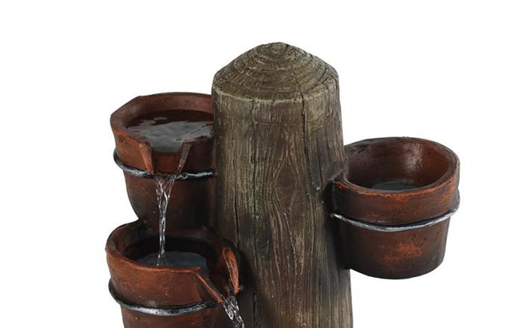 Plant Pot And Barrel Cascading Water Feature With Lights H81cm 163 199 99