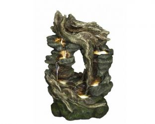 Infinity Tree Cascading Water Feature with Lights - H75cm