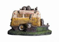 Yellow Camper Van Water Feature with Lights - H61cm