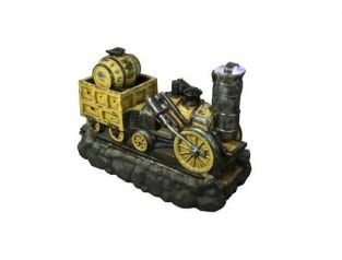 Yellow Train Water Feature with Carriage and Barrel - H69cm