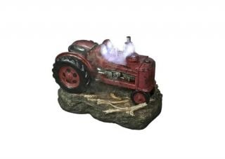 Small Red Tractor Water Feature with Lights - H50cm