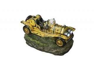 Yellow Vintage Car Water Feature with Lights - H40cm