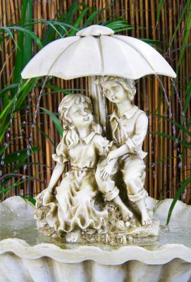 Rainy Days Ivory Effect Bird Bath Fountain with Lights
