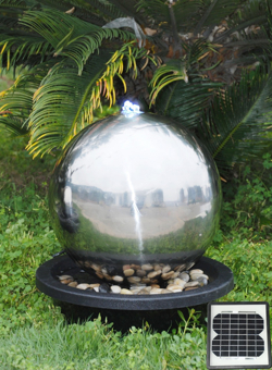40cm Stainless Steel Sphere Solar Powered Water Feature 163 149 99