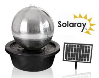 H50cm Sphere Solar Stainless Steel Water Feature with Lights by Solaray
