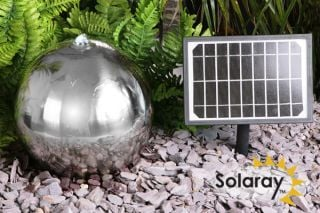 H45cm Sphere Solar Stainless Steel Water Feature with Lights - Outdoor use by Solaray