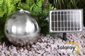 45cm Stainless Steel Solar Powered Sphere Water Feature with LED Lights by Solaray™