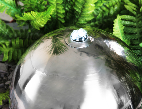 50cm Stainless Steel Solar Powered Sphere Water Feature with LED Lights by Solaray™