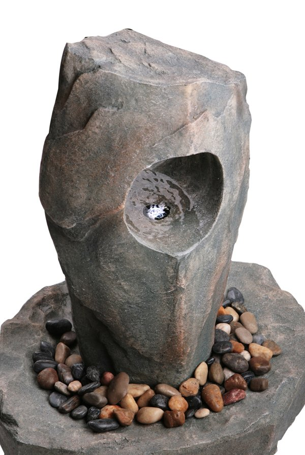 Greystone Porthole Monolith Water Feature with Lights - H70cm