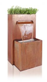 H89cm Halton Corten Steel Waterfall Cascade Planter with Lights by Ambienté