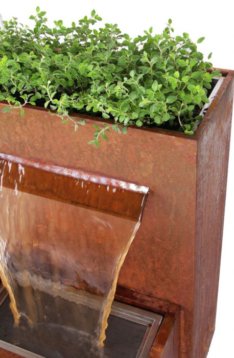 H89cm Halton Corten Steel Waterfall Cascade Planter with LED Lights by Ambienté™