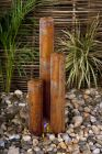 "5ft 1"" /1.55m Corten Steel Three Tiered Tubes Water Feature with LED Lights"