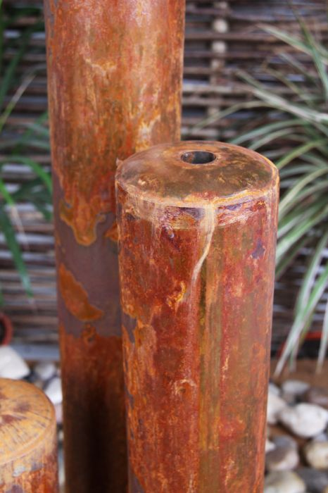 "5ft 1"" /155cm Corten Steel Three Tiered Tubes Water Feature with LED Lights by Ambienté™"