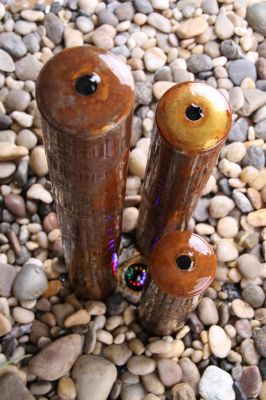 "4ft 6"" / 1.37m Corten Steel Three Tiered Tubes Water Feature with LED Lights"