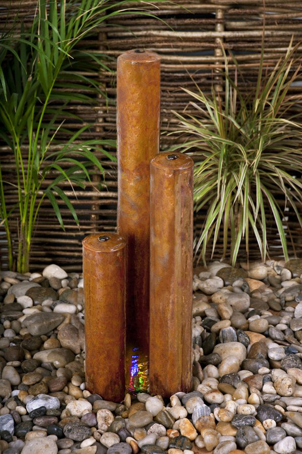 H135cm 3-Tiered Tubes Corten Steel Water Feature with Colour LEDs by Ambienté