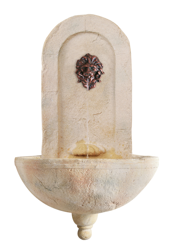 Levante Wall Fountain with Valencia Lion Head Spout