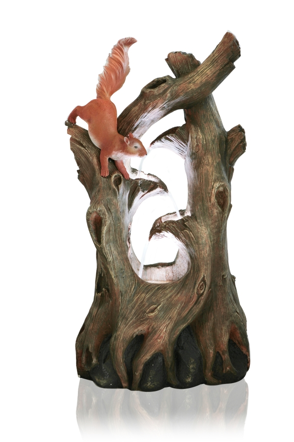H86cm Squirrel Tree Falls Water Feature With Lights By