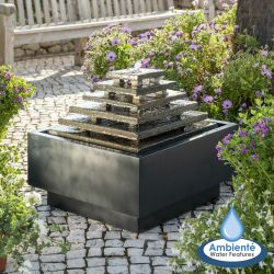 H51cm Aztec Pyramid Slate Water Feature with Lights | Indoor/Outdoor Use