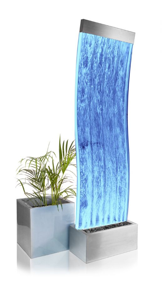 6ft / 183cm Cosmo Curved Bubble Water Wall with Colour Changing LED Lights - Indoor Use