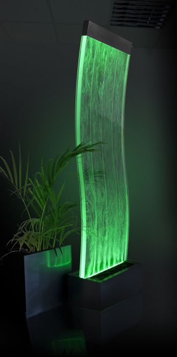 183cm Cosmo Curved Bubble Water Wall with Colour Changing LED Lights - Indoor Use