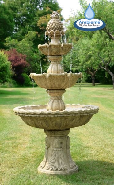 H150cm Regal 3-Tier Cast Stone Water Fountain by Ambienté