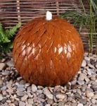 50cm Corten Steel Sphere Water Feature with LED Lights