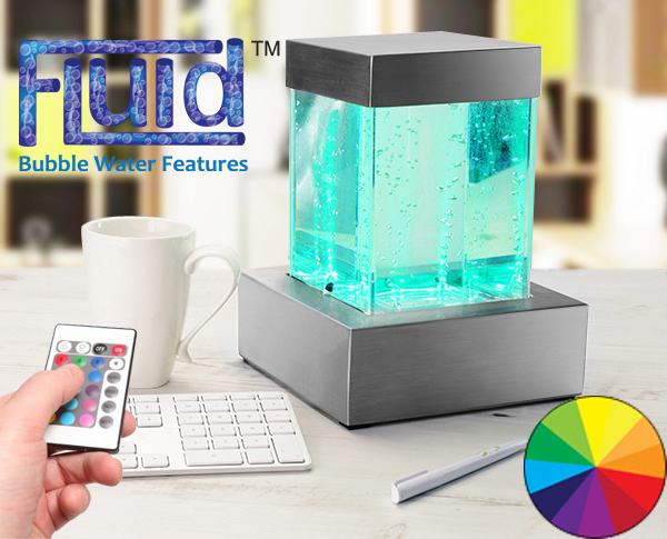H24cm Spectrum Bubble Tower Tabletop Water Feature with Colour LEDs | Indoor Use by Fluid