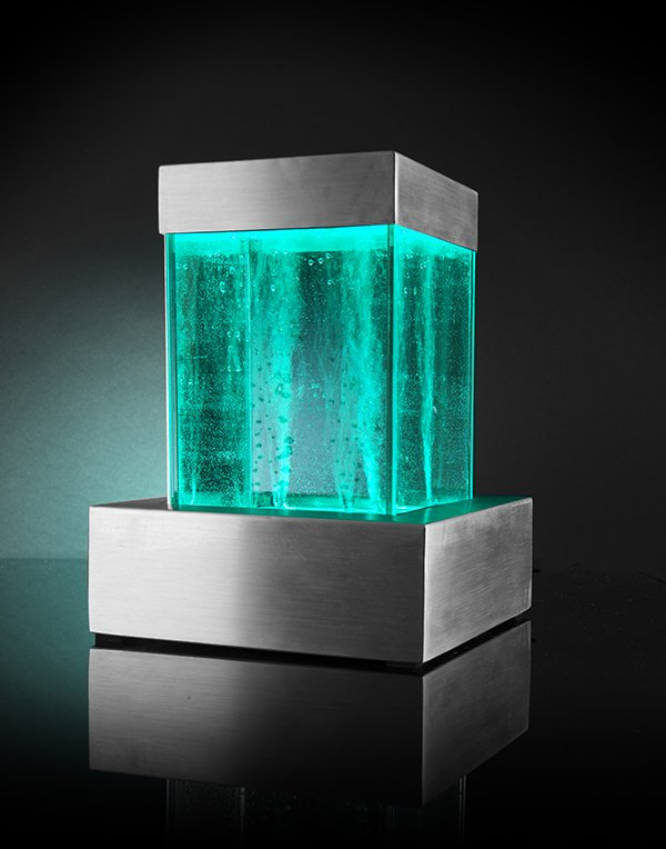 Spectrum Square Tabletop Bubble Tower Water Feature with Colour Changing Lights - Indoor Use