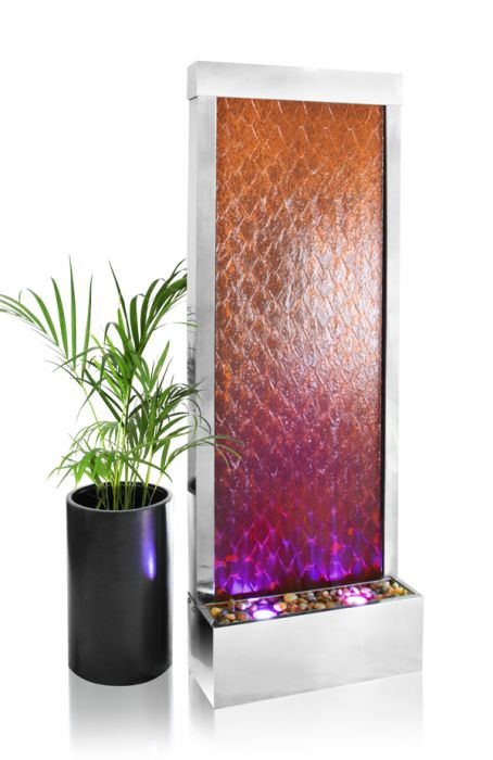 1.74m Corten and Stainless Steel Weathered Water Wall with Lights