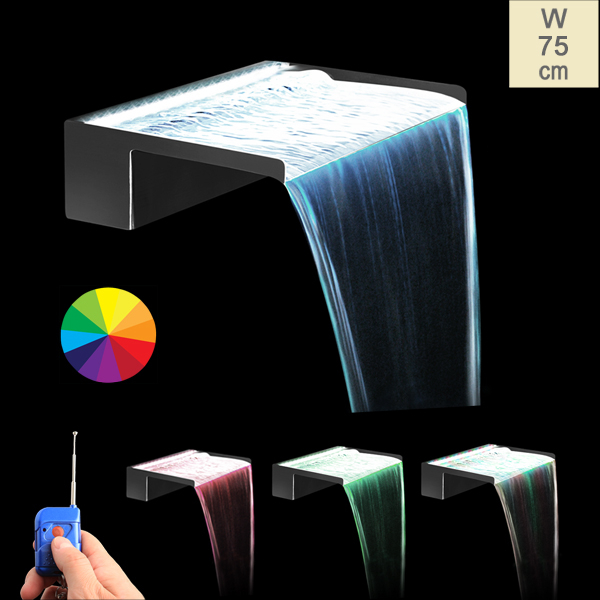W75cm Blade Waterfall with Remote Control Colour Changing LEDs