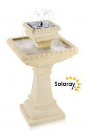 H80cm Pizzaro Bianco 2-Tier Automated Solar Caststone™ Bird Bath with Lights by Solaray