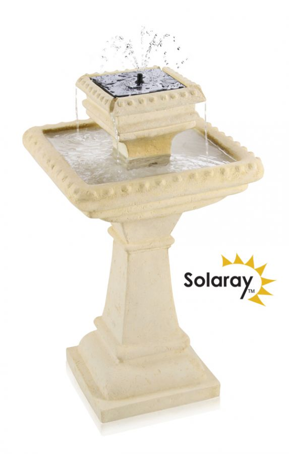 "80cm Pizzaro ""Bianco"" 2 Tier Caststone™ Automated Solar Bird Bath with Lights by Solaray™"