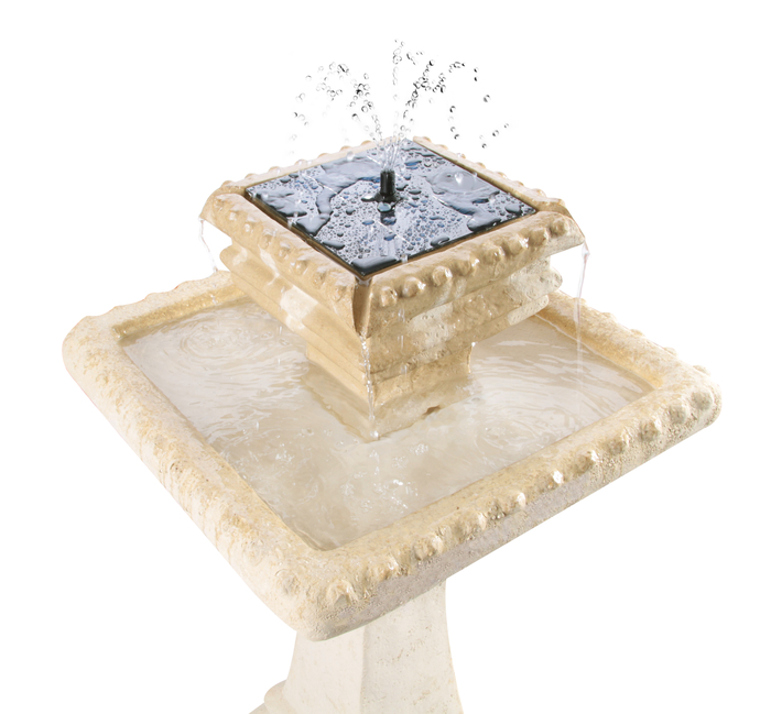"Pizzaro ""Bianco"" 2 Tier Caststone™ Automated Solar Bird Bath with Lights (H80cm) by Solaray™"