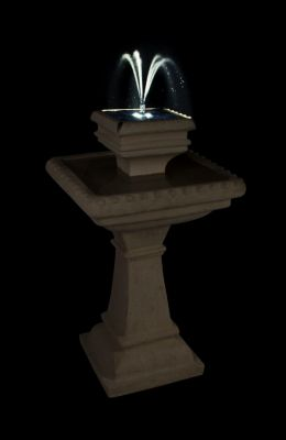 80cm Pizzaro Caststone™ Solar 2 Tier Automated Bird Bath with Lights and Battery Backup by Solaray™
