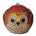 Red Ceramic Owl Table Top Water Feature W185mm