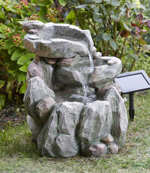 Smart solar decorative solar powered rock fall garden for Ornamental garden features