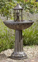 H83cm Dancing Couple Solar Bird Bath Water Feature