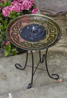 Solar Powered Glass Birdbath